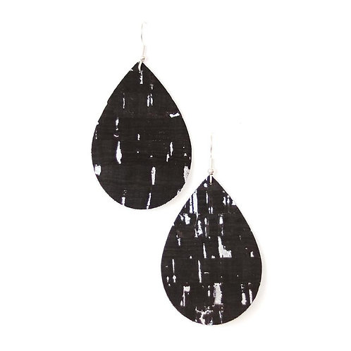 Black Cork with Silver Accents Teardrops Earring