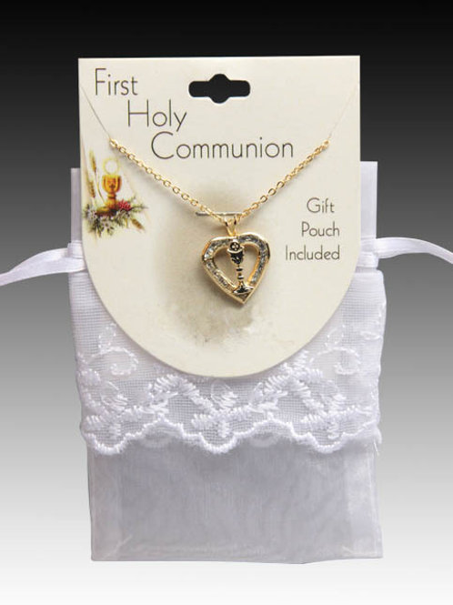 First Communion Necklace: Chalice in heart.