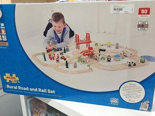 Bigjigs Rail Rural Road and Rail Train Set (80 Play Pieces)