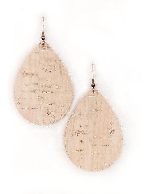Rustic White Cork Teardrops Earrings
