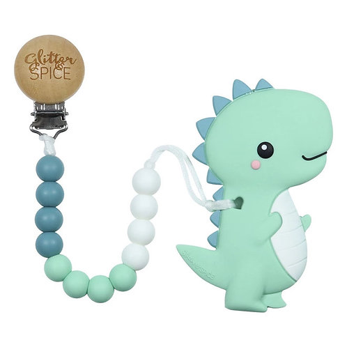 T-Rex Dino Teether With Pacifier Clip