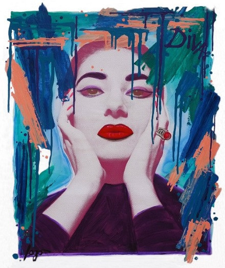 A femme fatale is painted in colourful paint, with bright red lipstick