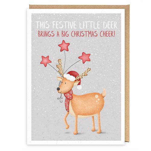 FESTIVE LITTLE DEER CHRISTMAS GREETING CARD