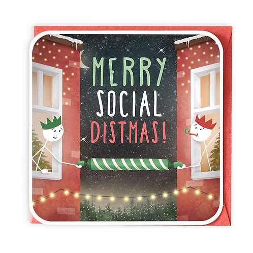 MERRY SOCIAL DISTMAS CHRISTMAS GREETING CARD