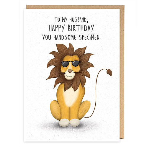 HANDSOME SPECIMEN HUSBAND LION GREETING CARD