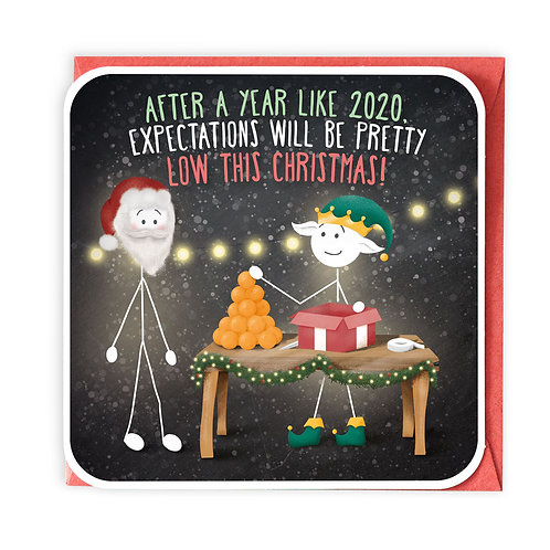LOW EXPECTATIONS Christmas greeting card - XS37