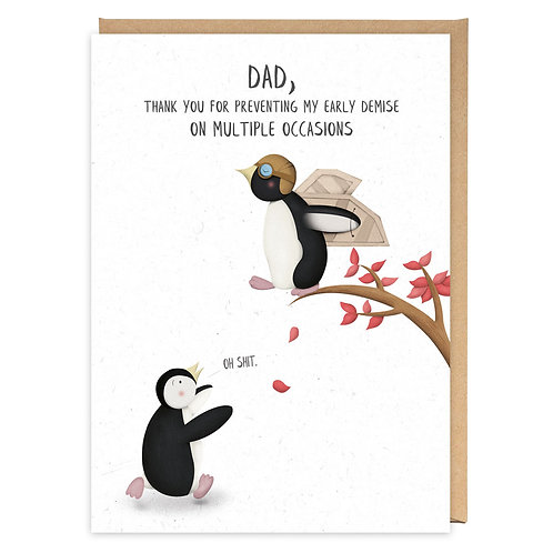 EARLY DEMISE DAD PENGUINS greeting card - PE10