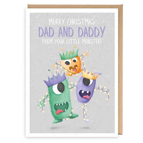 LGBT MONSTERS CHRISTMAS DAD AND DADDY GREETING CARD