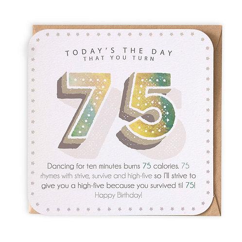 75th BIRTHDAY GREETING CARD