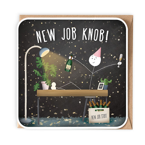 NEW JOB KNOB greeting card - SM83