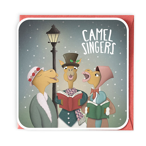CAMEL SINGERS CHRISTMAS GREETING CARD
