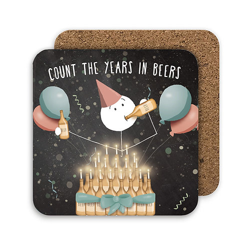 COUNT THE YEARS IN BEERS set of 4 coasters - CC17