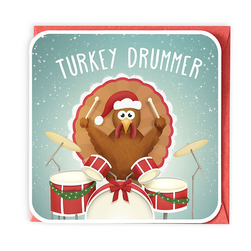 TURKEY DRUMMER GREETING CARD