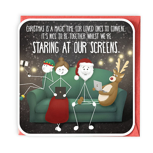 STARING AT OUR SCREENS GREETING CARD