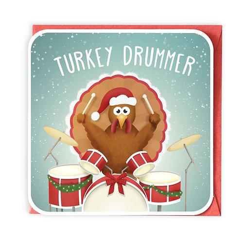 TURKEY DRUMMER greeting card - XC06