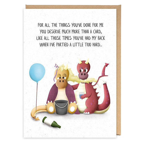 PARTIED TOO HARD DRAGONS GREETING CARD