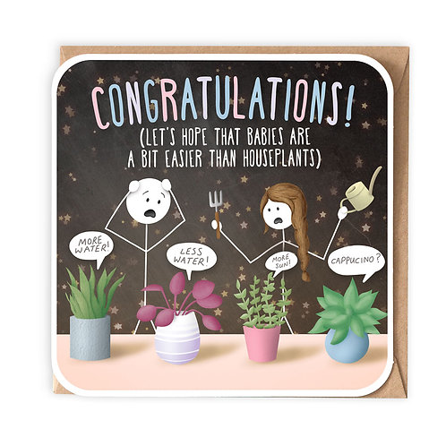 HOUSEPLANTS NEW BABY GREETING CARD