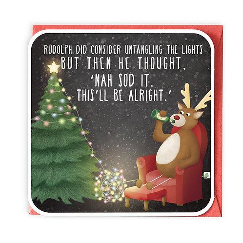 TANGLED LIGHTS CHRISTMAS GREETING CARD