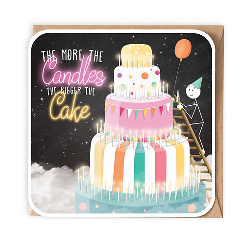 MORE CANDLES BIGGER CAKE BIRTHDAY CARD