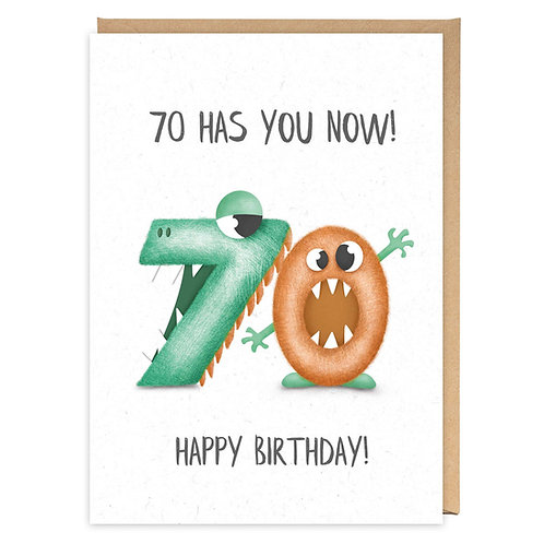 70 HAS YOU NOW 70TH BIRTHDAY GREETING CARD