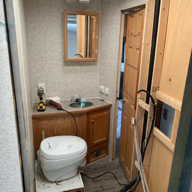 Interior of Toy Hauler bathroom