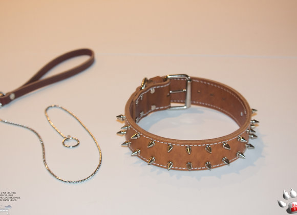 NNK 2-Ply Brown Leather Spiked Collar W/ 2 Rows Chrome Spikes