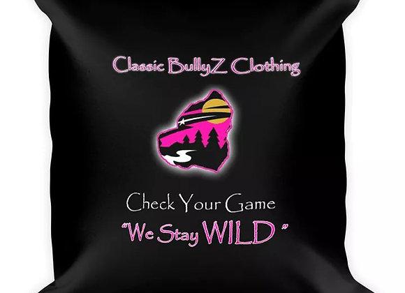 "Classic BullyZ ""PINK Wild MN BUlly Head"" 18x18 THROW PILLOW"