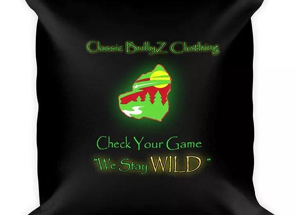 "Classic BullyZ ""Neon Green Wild MN BUlly Head"" 18x18 THROW PILLOW"