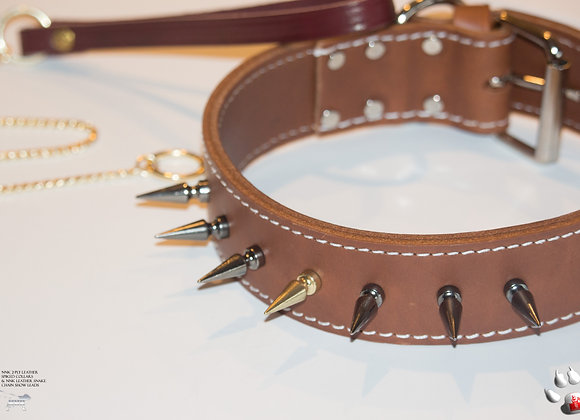 NNK 2-Ply Brown Leather Collar W/A Lucky 7 Spike