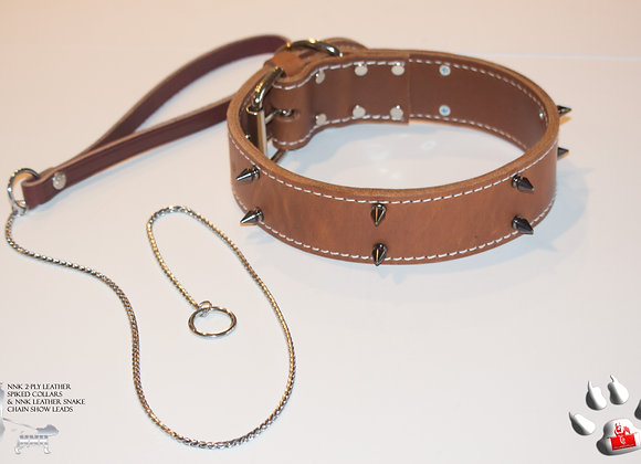 NNK 2-Ply Brown Leather Spiked Collar