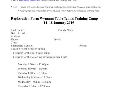 Wynnum Table Tennis Training Camp 2019