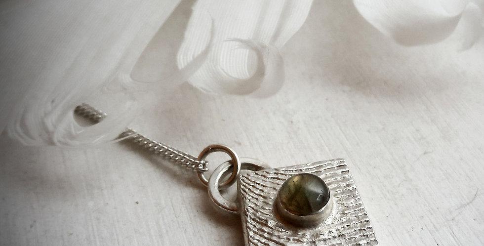 Sterling Silver Labradorite Pendant (E) - Cuttlebone Cast