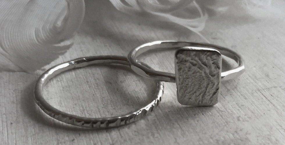 Sterling Silver Stacking Ring Set - 'Rustic'  (UKRing Size S)