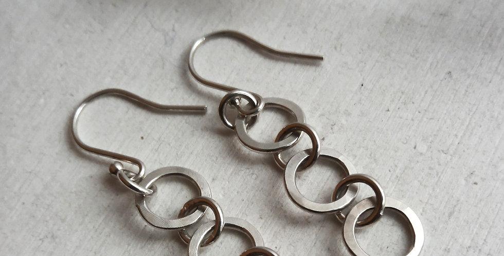 Sterling Silver Circle Link Earrings