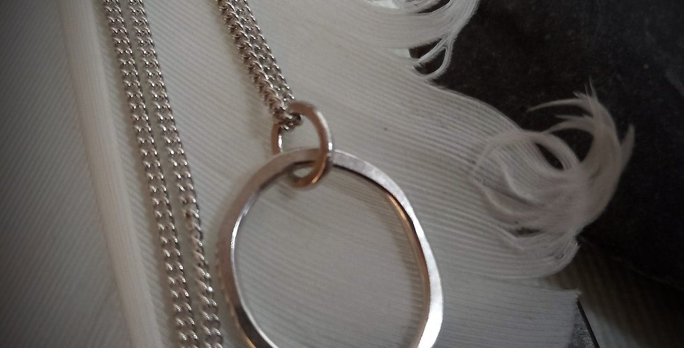 Sterling Silver Organic Freeform Oval Pendant