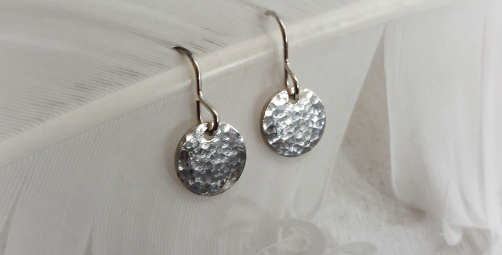 Sterling Silver Hammered Disc Earrings