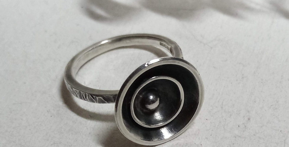 Oxidised Sterling Silver Double Crater Ring