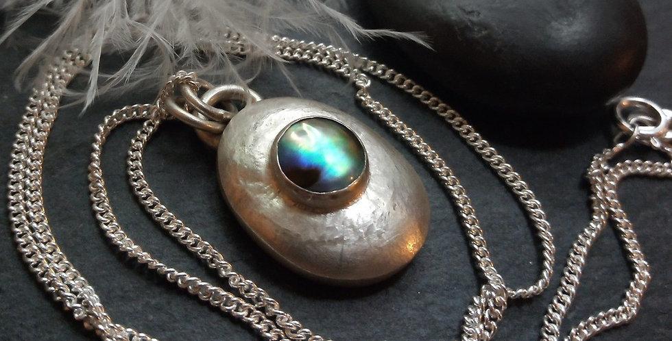 Sterling Silver Natural Paua Shell Pebble Pendant