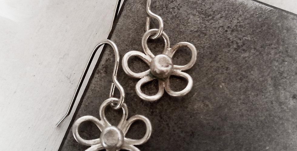 Minimalistic Sterling Silver Flower Earrings