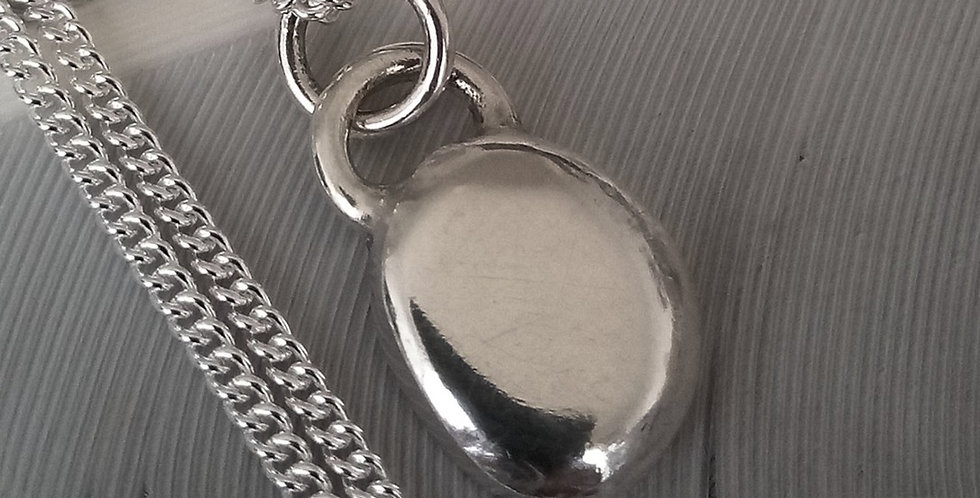 Recycled Silver Pebble Pendant - 'Polished'