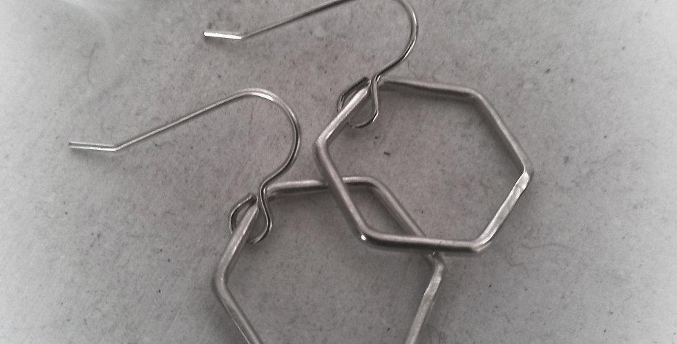 Sterling Silver Minimalistic Hexagon Earrings - Meduim