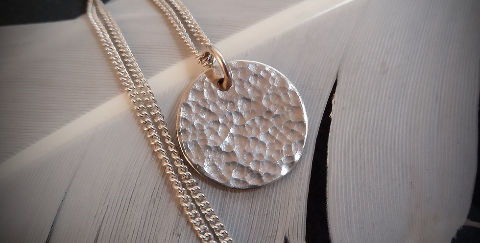 Dainty Sterling Silver Hammered Disc Pendant