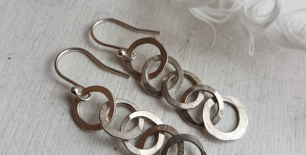 Sterling Silver Hammered Circle Link Earrings