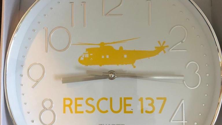 RAF Sea King Rescue 137 Embossed Clock