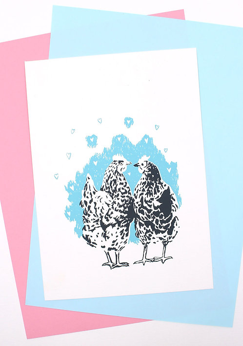 Siebdruck Karte / Chickenlove