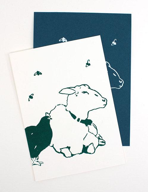 Siebdruck Karte / Schaf