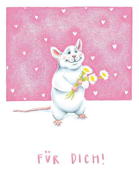 Glückwunschkarte Blumen Maus