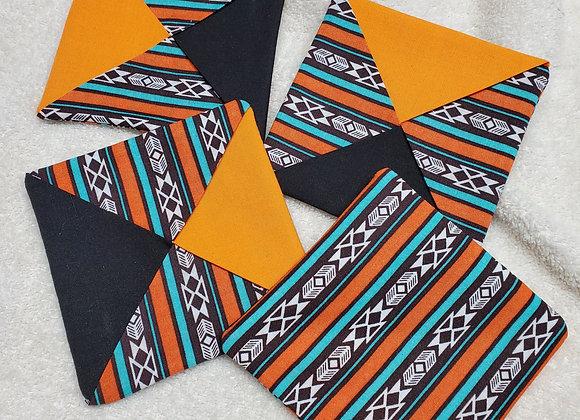 Coaster set Southwest Black and Orange