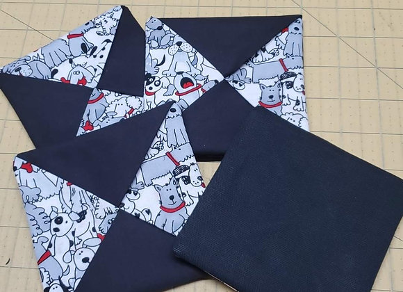 Coaster set Black and White Dogs