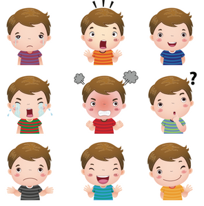 Boy with Various Feeling States in Educational Therapy